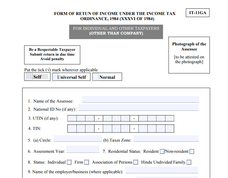 Income Tax Return Forms of National Board of Revenue NBR Download
