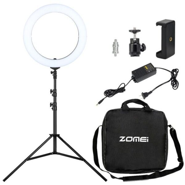 zomei-premium-led-ring-light-46cm-18-inch-50w-3200-5500k-white-color-temperature-control-full-set-with-stand-and-carry-bag